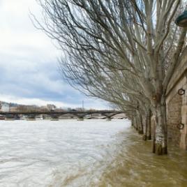Flooded Seine embankment in Paris